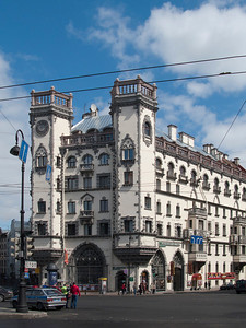 "Kamennoostrovskii prospect, Lev Tolstoi square, ""House with towers"" (house by Rosenshtein) (1913-1915 build)"