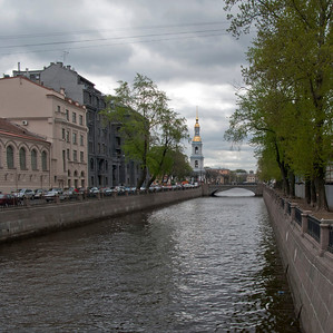 Kryukov Canal. View to bell tower of the Nikolo-Epiphany cathedral.