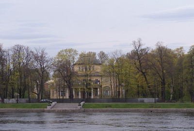 View to the Stone island from the Sandy quay of the Low Nevka.