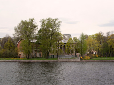 View to the Stone island from the Sandy quay of the Low Nevka