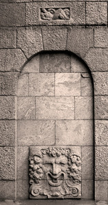 Kamennoostrovsky avenue, bas-relief on a wall of old building.