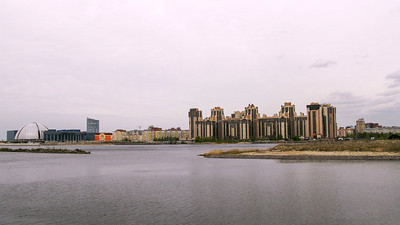 View from the Krestovskii island to the new buildings at the coast of the North-maritime part.