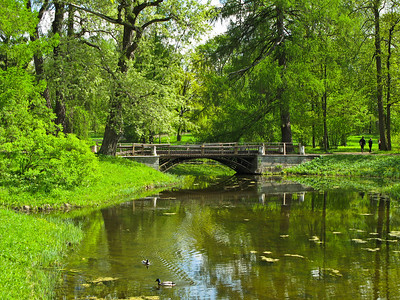 Pond and old bridge in Alexander park
