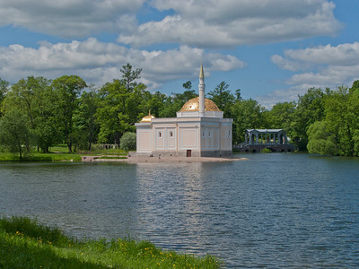 Grand pond View to Turkish bath house and Palladius Bridge.  Ekaterina park.
