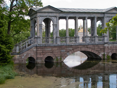 Catherine Park. Great Pond. Marble Bridge. View to Turkish baths.