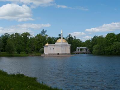 Grand pond View to Turkish bath house and Palladius Bridge.  Ekaterina park.