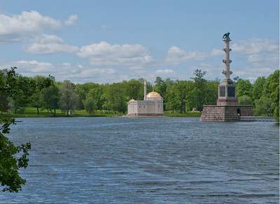 Great Pond. Catherine Park. View to The Moorish-style Turkish Baths and Chesmen column.