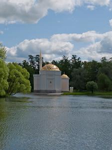 Grand Pond. View to Turkish bath house. Ekaterina park.