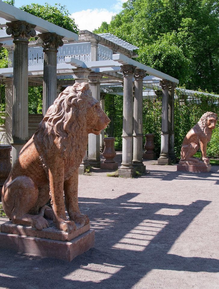 Lions at old hothouse. Ekaterina park.