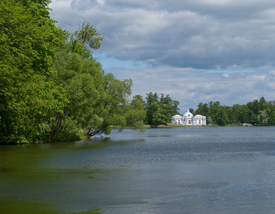Grand pond View to Pavilion Grot. Ekaterina park.