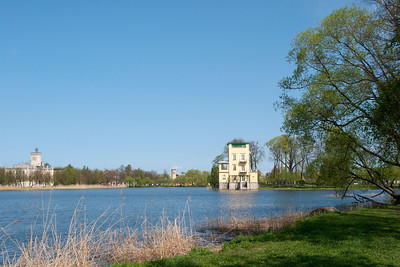 Colonist Park. Olgin pond.Ol'gin  pavilion. (From the left - Tsarinin  paviliion) Round tower - House by major Truveller.