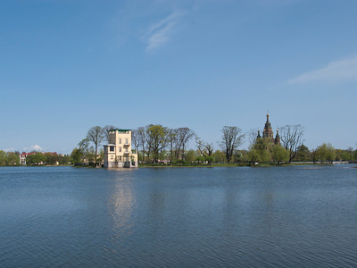 Colonist Park. Olgin pond.Ol'gin  pavilion. Peter and Pavel Cathedral.