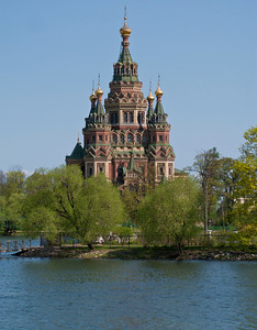 Colonist Park. Olgin pond.  View to Peter and Pavel Cathedral.