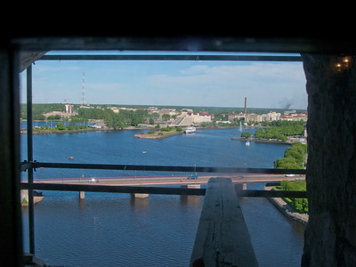 View to Sakkalahti bay  from staircase  inside St. Olaf tower
