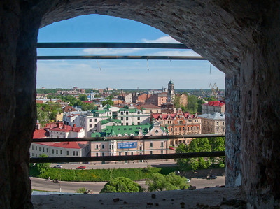 View to Old town from staircase  inside St. Olaf tower