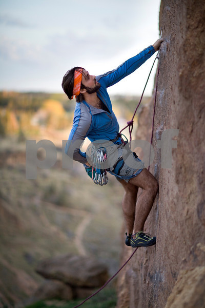 Rock climber at Smith Rock Oregon.  Release form signed.