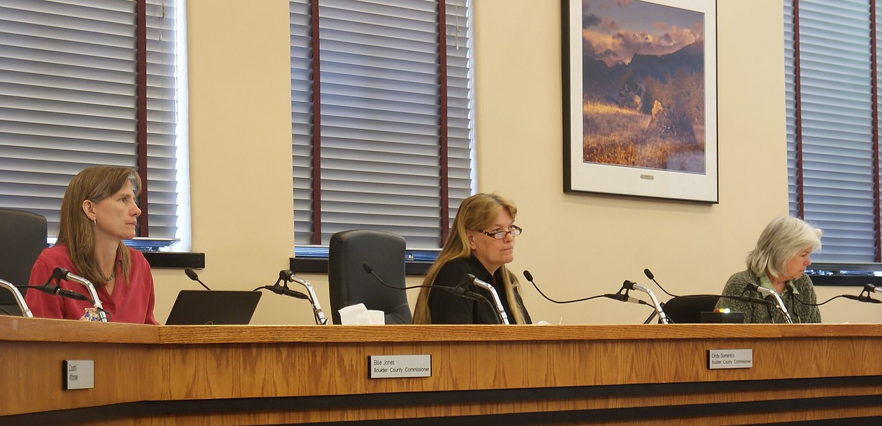 Three Boulder County Commissioners listening to testimony about fracking.
