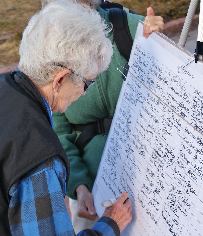 """Denver area residents sign petition to abolish """"corporate personhood"""". (1/20/12)"""