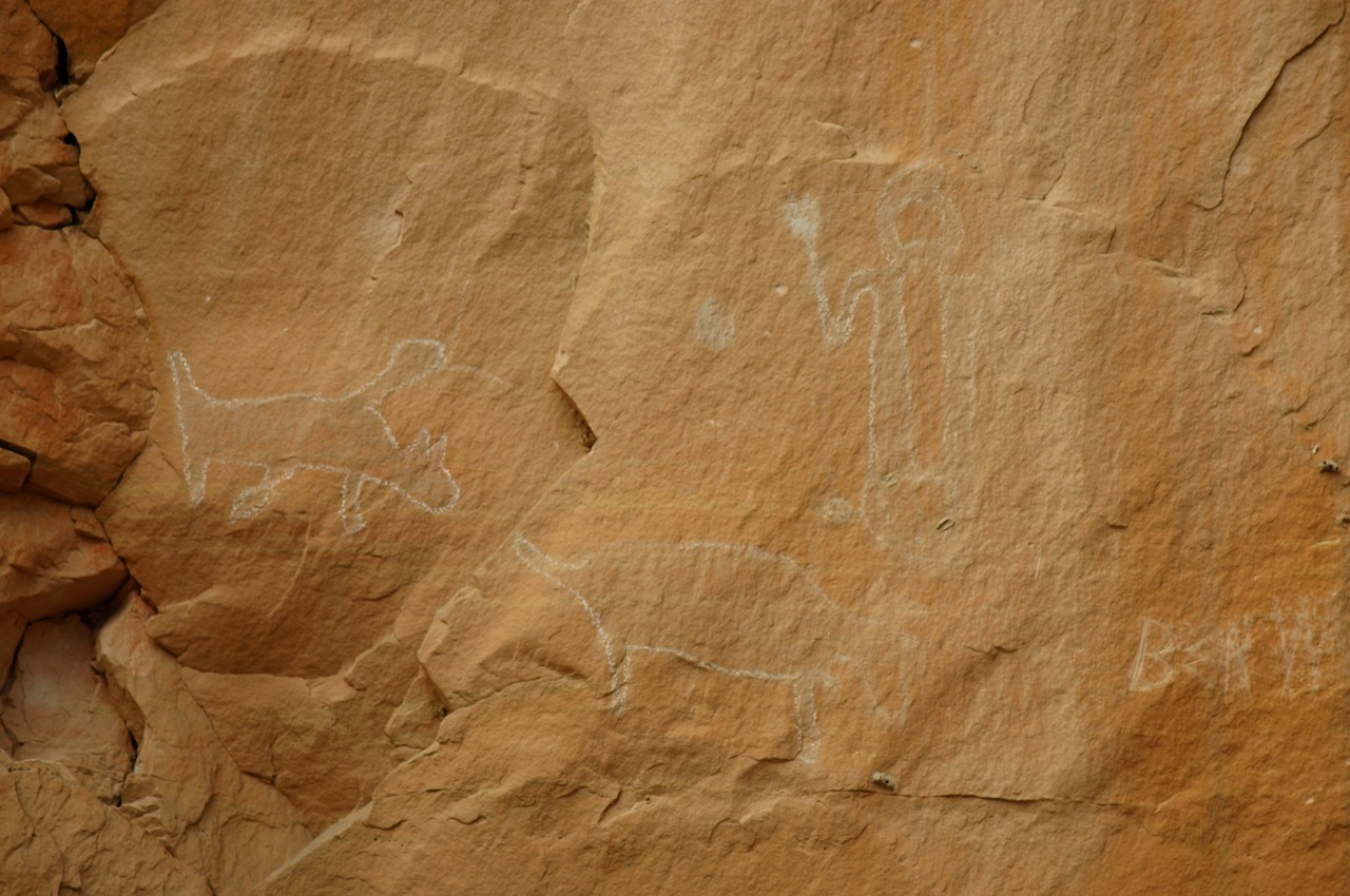More pictographs with chalk outlines