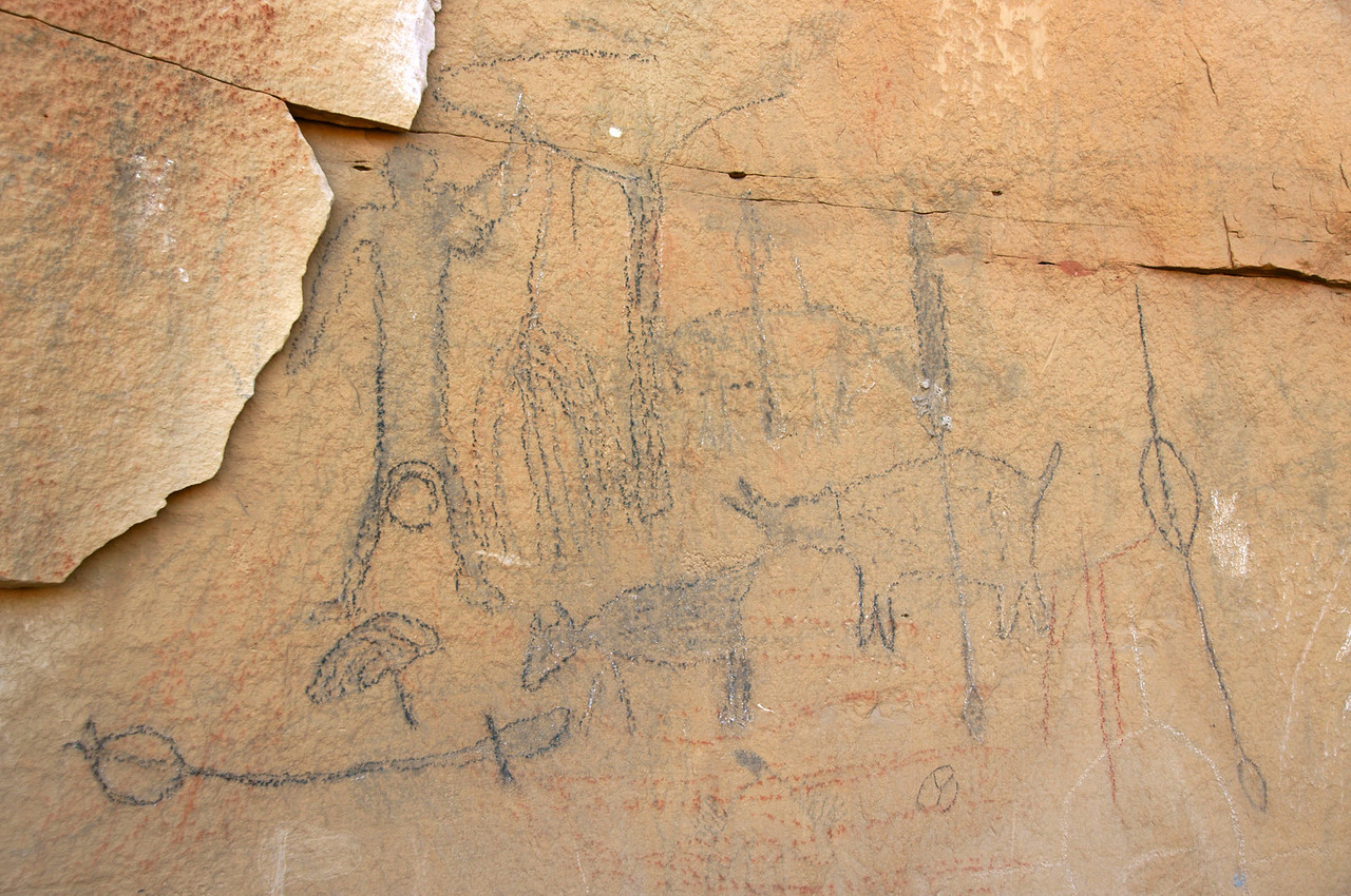 Largest collection of pictographs at the third location.  These had been traced around as well in the 1930's.