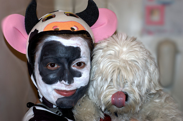 Cow, Dog & Tongue at Halloween 2005.  Only one is in costume.