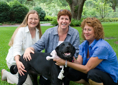 On the lawn at the Governor's Mansion--L-R: Melissa Abernathy, LCHS Director of Programs, Sonya White, LCHS Executive Director, Ronda Federspiel, Executive Office of the Governor, and her dog Lillee.