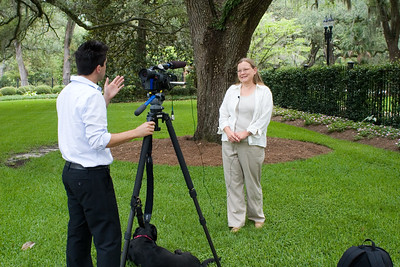 Press interviewing Melissa Abernathy, LCHS Director of Programs