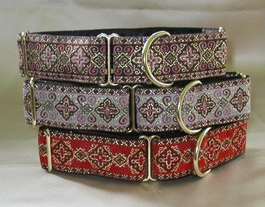 Celtic Cross martingale collars, Rose, pale pink , red