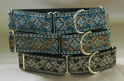 Celtic Cross martingale collars, from the top down, blue, turquoise and hunter.