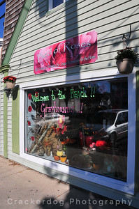 A typical window display in Rehoboth Beach welcoming the greyhounds visiting the town.