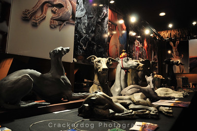 An array of greyhound statues by Sarah Snavely.