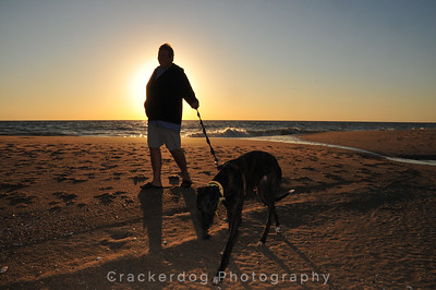 A greyhound and its owner are silhouetted against the morning sun.