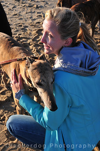 Aimee could hug every greyhound within reach.