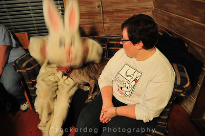Laze plops the rabbit hat on Passion.