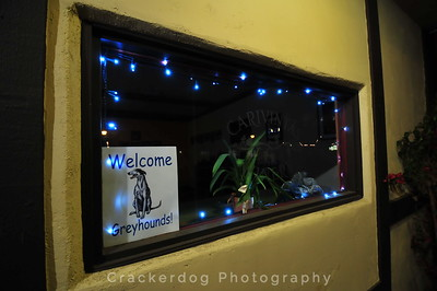 """The """"Welcome Greyhounds!"""" sign displayed by the Carivintas Winery"""