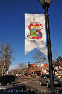 The Solvang Centennial banner is displayed all over town.