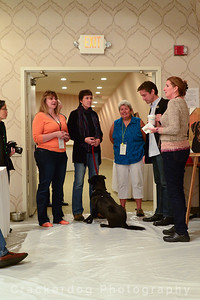 Left to right: Gayle, Kim, Connie, Ruby the dog, Caryn, Fabien, and Mary Ann