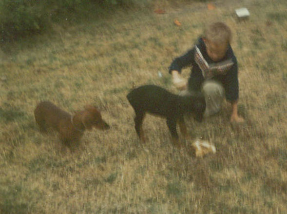 Me playing with Arco and Fritz (puppy)