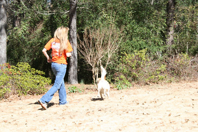 Kelly & Jasmine running after the ball - Feb 2008.