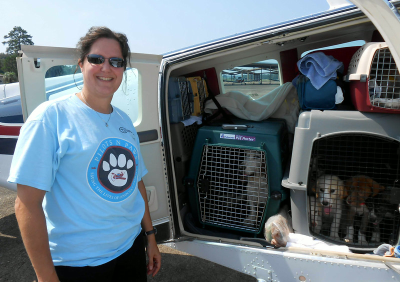 Susan with her Bonanza chock-a-block filled with crates and pups!