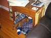 Barkley's bed is set up under the sewing machine table - a nice little spot for him.