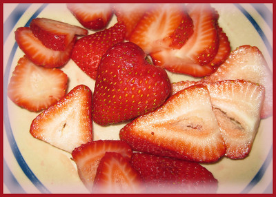 Beau got me eating strawberries regularly!  He got sliced strawberries every morning.  I even got to feeding him these from a spoon (not the one I was using you understand).  It was less messy for me and almost all the time he got the delicacy from the spoon without incident.