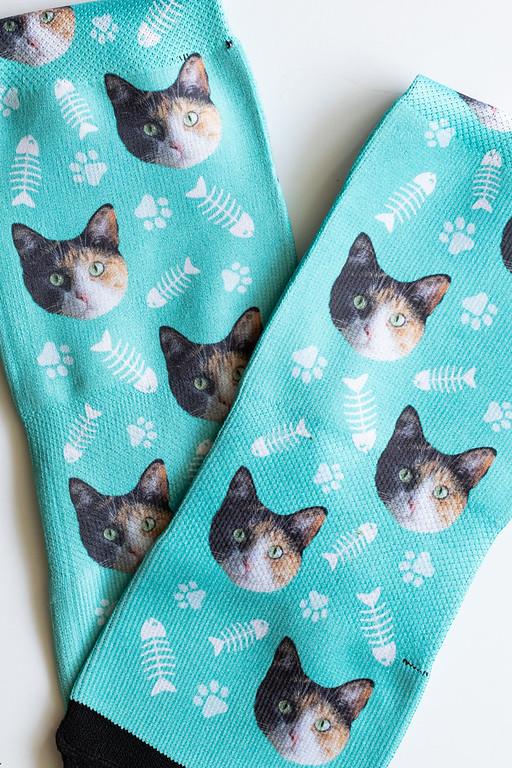 Blue Socksery socks with cat photos on them!