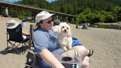 Mary and Chai after swimming in the Russian River
