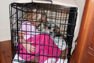 Thalia was so excited.  She had to crawl inside of Charlie's crate to experience it.
