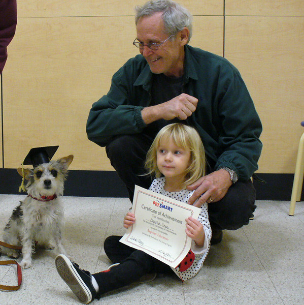 The first thing we did was enroll CA in dog school, and she went for eight lessons and graduated.