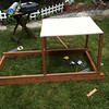 """Cut a square out of 3/4"""" plywood to form the base of the coop. It is important to use fairly thick plywood here so it doesn't sag later on as the majority of the middle will be unsupported. This piece is approximately 32"""" x 32""""."""