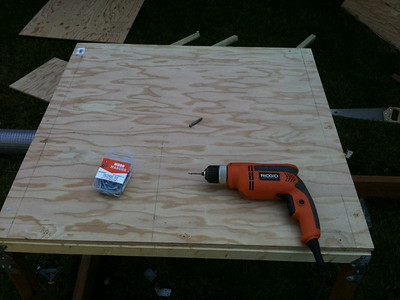 "Gently place the 3/4"" plywood floor on top of the floor frame. Pre-drill screw holes and attach with 1.5"" screws."