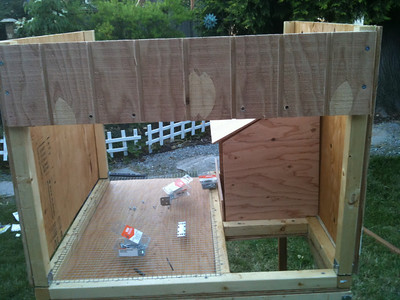 Cut a piece of exterior plywood to fit the entire site, then cut it across so that a piece fits above the cross-beam.