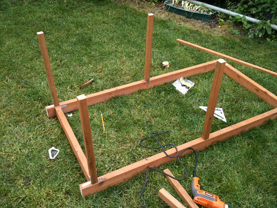 All four posts are now attached to the frame.
